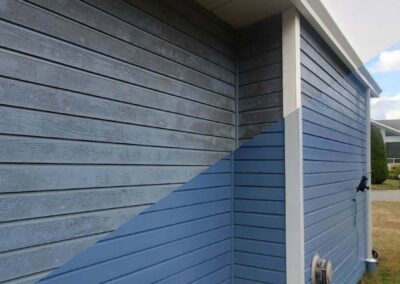 Dramatic difference after pressure washing home siding